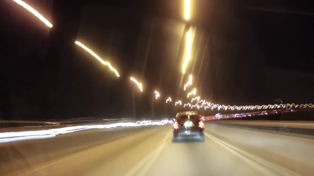 4k Hyperlapse Video - Car in Night City Traffic Night drivelapse in the city avenue stock videos & royalty-free footage