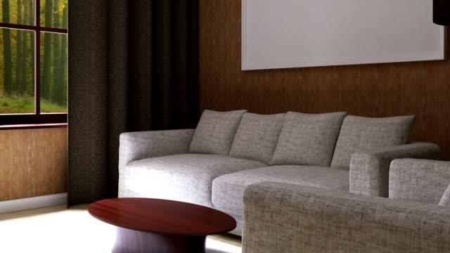 vídeos de stock e filmes b-roll de 4k. interior of a living room - living room background