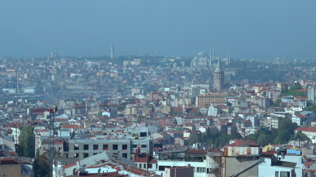 4k Istanbul Skyline - Galata Tower and Hagia Sophia Aerial View video