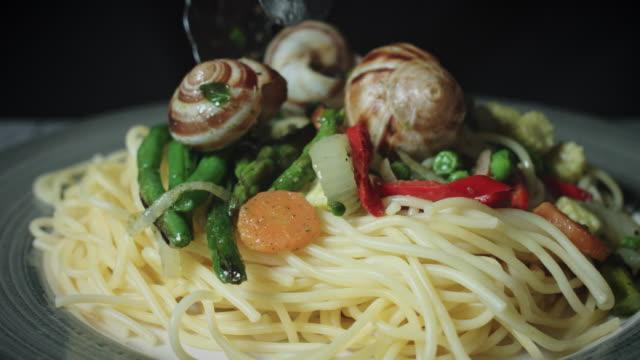 4k Italian Pasta Spaghetti with Escargots or Snails video