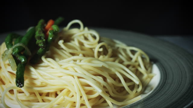 4k Italian Pasta Spaghetti with Vegetables Served video