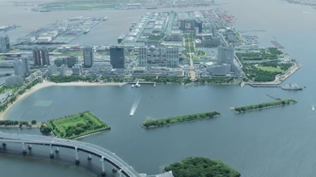 4k japan antenn antenn i tokyo bay, japan - odaiba kaihin koen bildbanksvideor och videomaterial från bakom kulisserna