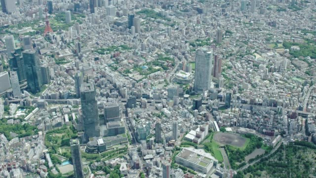 4k日本の空撮in東京都心 aerial,tokyo,japan - 東京タワー点の映像素材/bロール