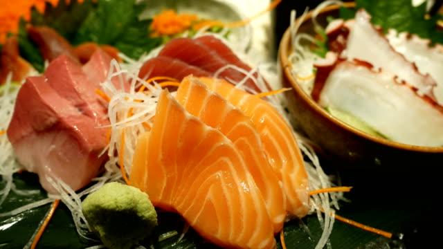 4k japanese foods sashimi 4k japanese foods sashimi sashimi stock videos & royalty-free footage