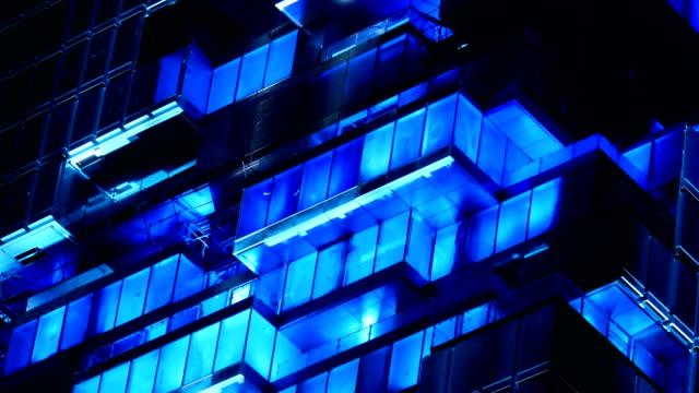 3k 光のショーの構築 - 緑 ビル点の映像素材/bロール