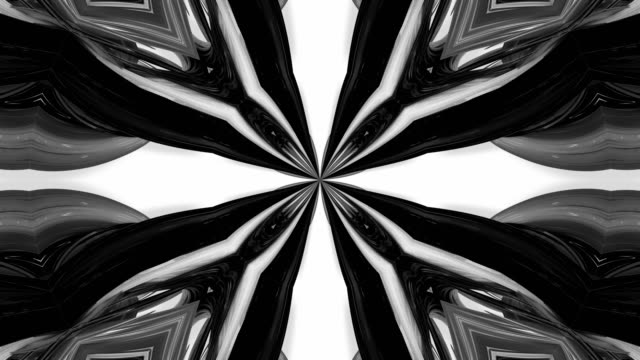 4k loop animation with black and white ribbons are twisted and form complex structures like symmetric ornament pattern or kaleidoscopic effect. Seamless footage with luma matte as alpha channel. 32 video