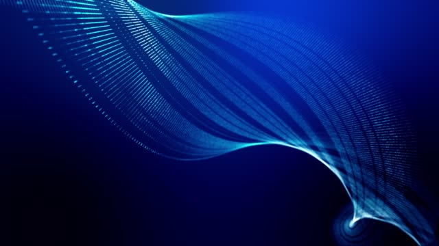 4k looped abstract background of glow particles form lines, surfaces as futuristic landscape in cyberspace or hologram. Sci-fi theme of microworld, nanotechnology or cosmic space. Blue spiral 4