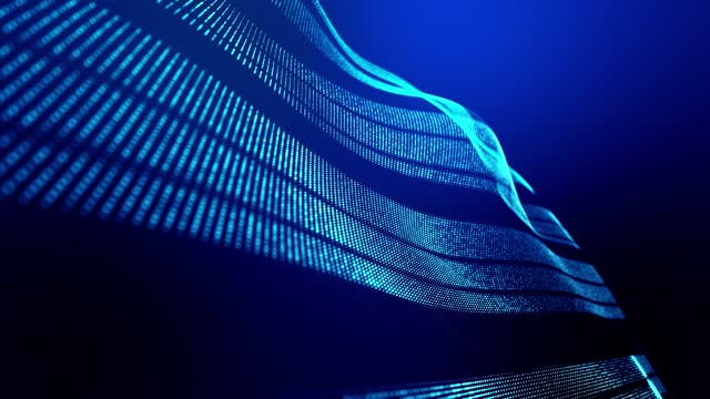 4k looped abstract background of glow particles form lines, surfaces as futuristic landscape in cyberspace or hologram. Sci-fi theme of microworld, nanotechnology or cosmic space. Blue stripes 13 video