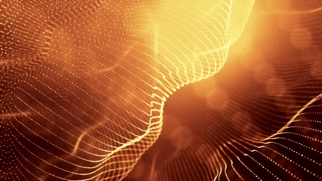 4k looped abstract background of gold glow particles form lines, surfaces as landscape in cyberspace or hologram. Sci-fi theme of microworld, nanotechnology or cosmic space. Depth of field. 45 strings video