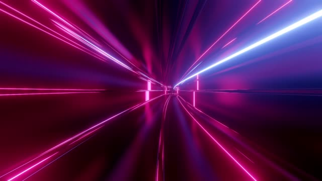 4k looped abstract high-tech tunnel with neon lights, camera flies through tunnel, purple neon lights flicker. Sci-fi background in the style of cyberpunk or high-tech future. Futuristic background 6 video