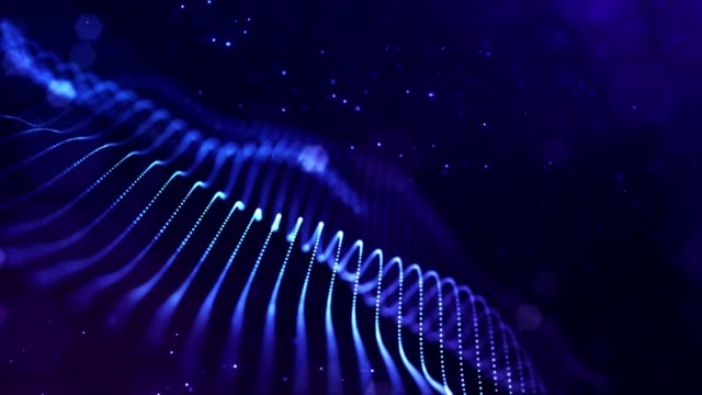 4k looped science fiction particle background with bokeh and light effects. Glow blue particles form lines, surfaces, complex structures in smooth motion like in the microworld or space. 2 video