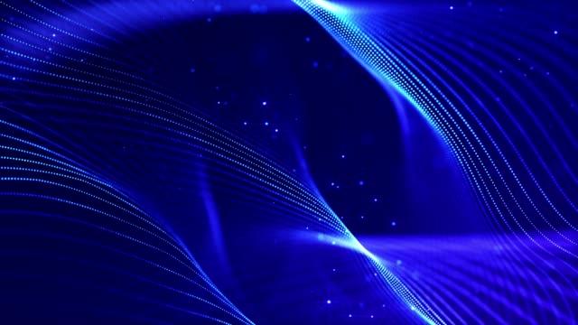 vídeos y material grabado en eventos de stock de 4k fondo de partículas de ciencia ficción en bucle con bokeh y efectos de luz. las partículas azules brillantes forman líneas, superficies, estructuras complejas en movimiento suave como en el micromundo o el espacio. 17 - gran inauguración