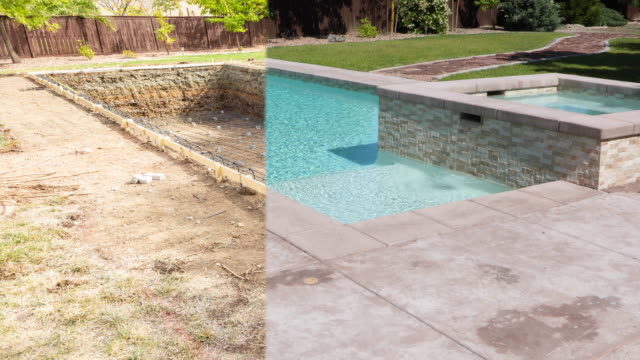 vídeos de stock e filmes b-roll de 4k looping seamless cinemagraph of swimming pool construction fading to completed pool - água parada