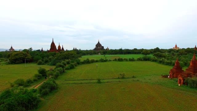 4k low aerial sweep towards Thatbyinyu temple video