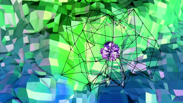 4k low poly background animation in loop. Seamless 3d animation as creative simple low poly background. V5 blue green landscape with sphere and moving framework video