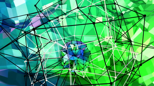 4k low poly background animation in loop. Seamless 3d animation as creative simple low poly background. V11 blue green landscape with sphere and moving framework video