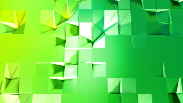 4k low poly background animation in loop. Seamless 3d animation in modern geometric low poly style with gradient colors. Creative simple background. V3 green plane with copy space video