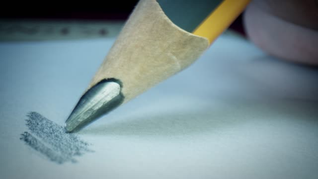 4k Macro Close-up Through a Pencil Drawing on Paper