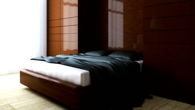 4k. Minimalistic interior of white bedroom. video