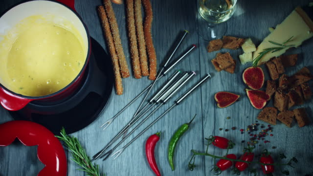 4k Mixed Cheese Fondue Dipping Bread Stick video