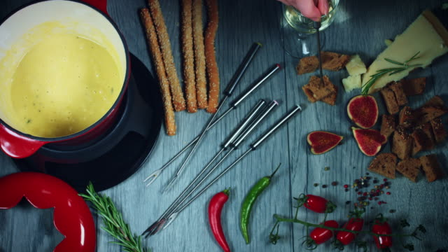 4k Mixed Cheese Fondue Serving video