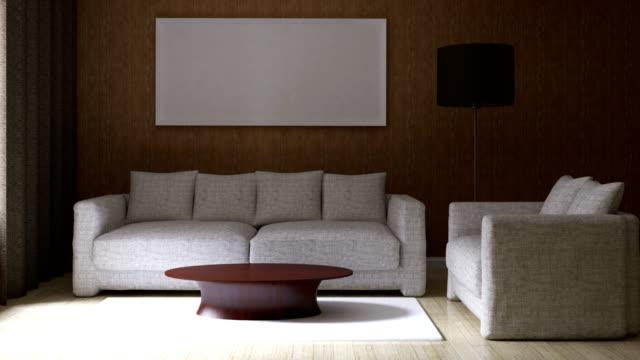 4 和モダンな明るいインテリア - 居間点の映像素材/bロール