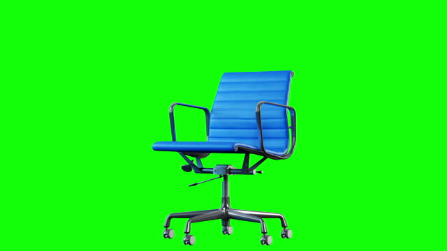4k Modern Steel and Blue Leather Office Chair rotation. Loop. Chroma key green background. 4k Modern office chair. Loop rotation. Metal steel and blue leather office chair close up on chroma key green background. chair stock videos & royalty-free footage
