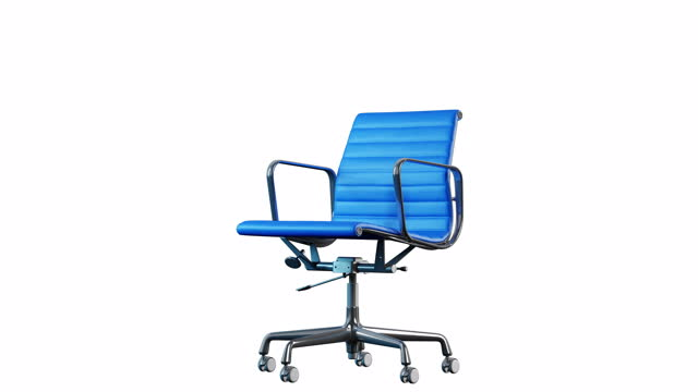 4k Modern Steel and Blue Leather Office Chair rotation. Loop. White background. 4k Modern office chair. Loop rotation. Metal steel and blue leather office chair close up on white background. chair stock videos & royalty-free footage