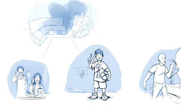 4k bewegung video von rauchen ist nicht gut für jedermann, familie ist gegen das rauchen. rauchen ist schlechte storyboard-zeichnungen - storytelling videos stock-videos und b-roll-filmmaterial