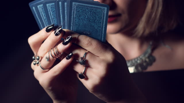 4k Mysterious Shot of Fortune Teller Reading on Tarot Cards video