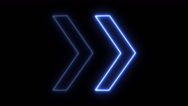 4k неоновый синий свет стрелка направлении на черном blackgroud - arrow стоковые видео и кадры b-roll