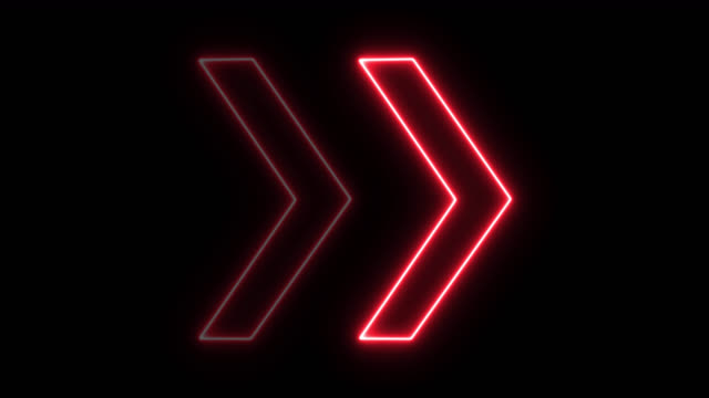 4k neon red light arrow direction on black blackgroud