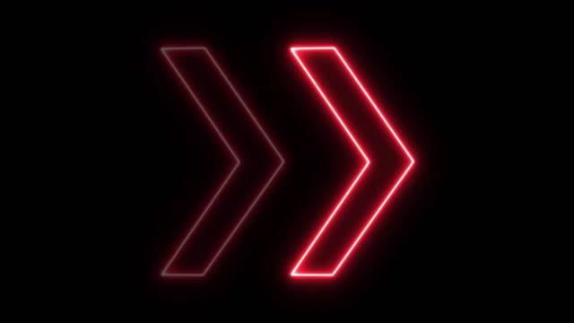 vídeos y material grabado en eventos de stock de dirección de flecha de luz roja de neón de 4k en negro negro - rojo