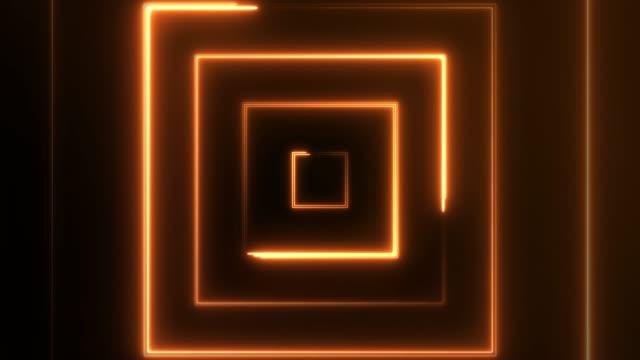 4k neon square lights background seamless loop - arancione video stock e b–roll