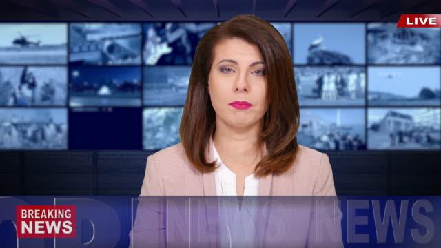 4k newscaster czytanie aktualności - media filmów i materiałów b-roll