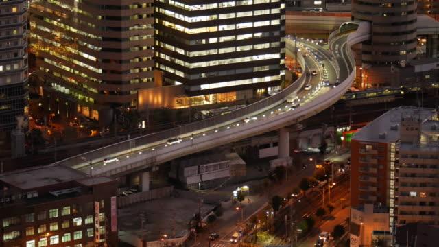 4k night view traffic of osaka city views - estakada skrzyżowanie dróg filmów i materiałów b-roll