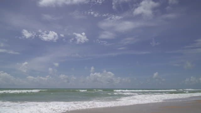 4k of Sea beach with blue sky. video