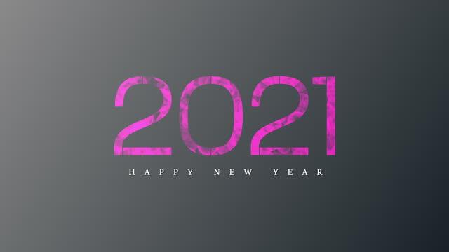 4k Pink Bokeh 2021 happy new year gray background