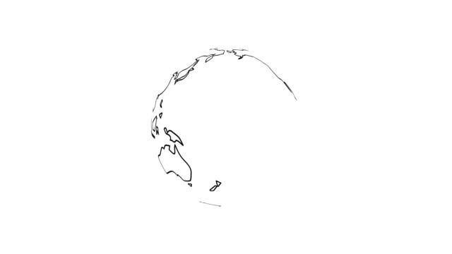 vidéos et rushes de 4k planète terre rendu animation vidéo contour noir continents isolées on white background. - contour