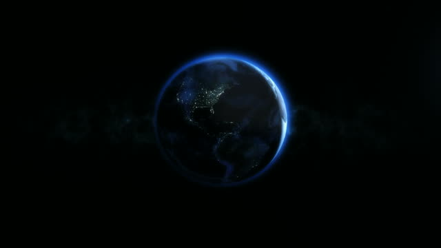 4k Planet Earth Rotating In The Night In Center