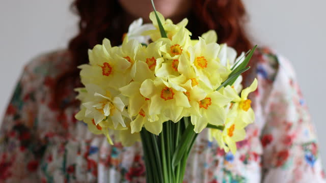 4k Portrait of young romantic woman smelling spring yellow daffodils flowers in bouquet at home