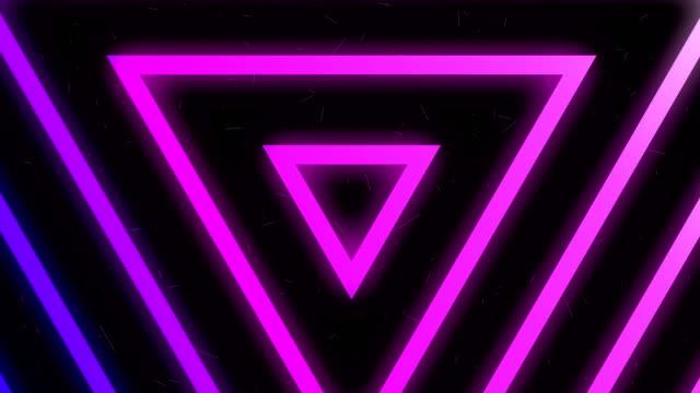 4 k 紫色のネオンの光の三角形の背景 - パターン点の映像素材/bロール