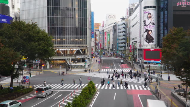 4k 即時: 日本東京的涉谷過境點。 - 澀谷交叉點 個影片檔及 b 捲影像