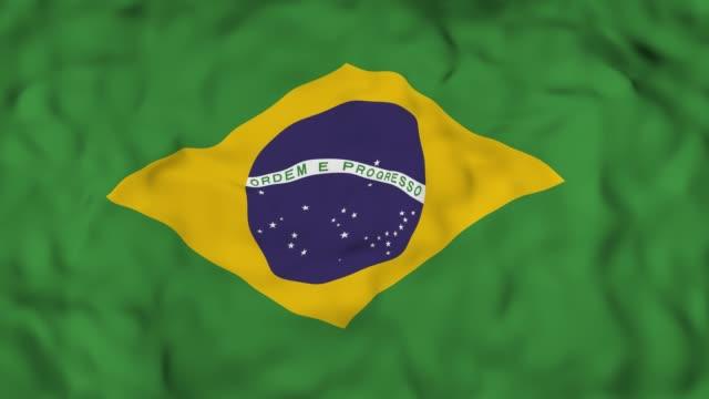 4K 3D realista detalhada lento bandeira de Brasil movimento ao vento, acenando o fundo da bandeira Indiana, - vídeo