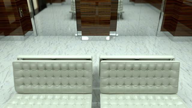 4k. reception desk and lobby in modern gym - hotel reception filmów i materiałów b-roll