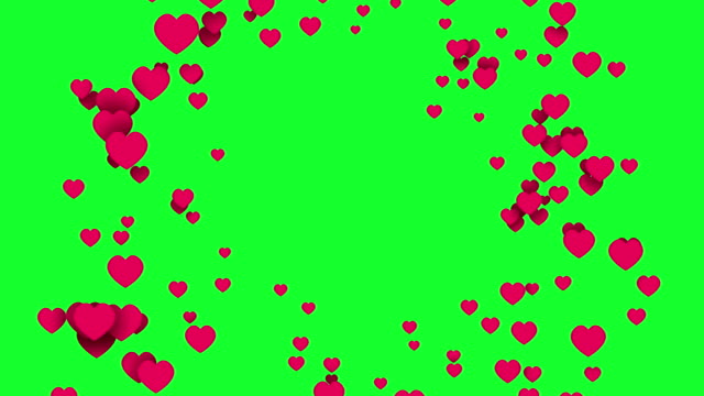 4k red abstract animated 3d flying hearts on green screen background. Live stream romantic comments. Love valentine animation banner. Cute cartoon like in social media online stories heart shape stock videos & royalty-free footage