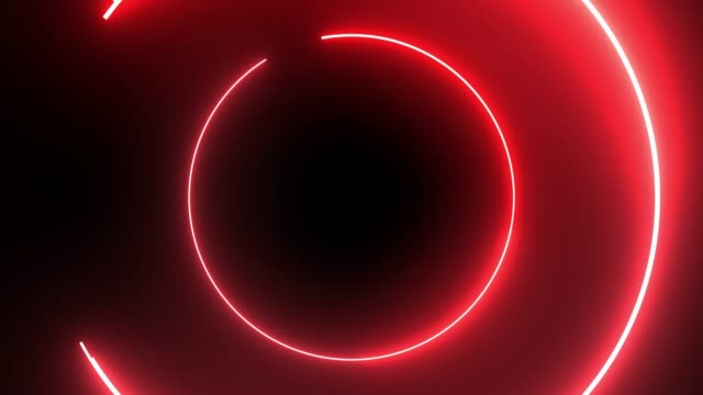 4k red neon circle lights background - neon video stock e b–roll