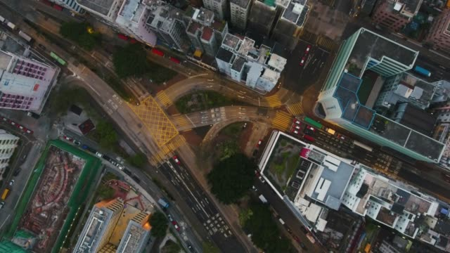 4k resolution aerial view of street  in hong kong city video