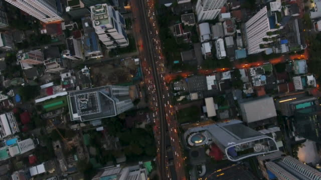 4 k çözünürlüklü bangkok hava kavşak trafik bangkok şehir, tayland - bangkok stok videoları ve detay görüntü çekimi