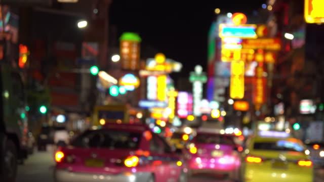4k resolution Blurred night Bangkok chinatown street video